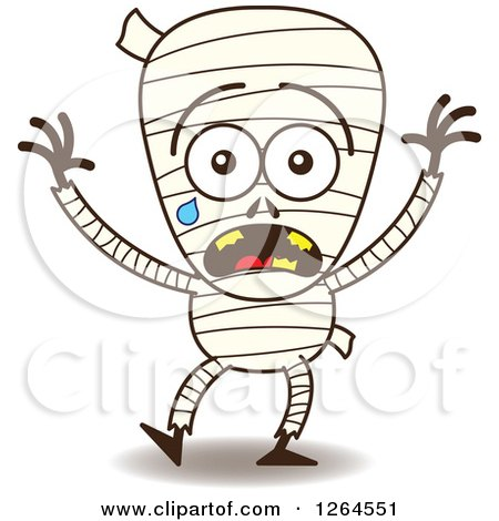 Clipart of a Scared Halloween Mummy Crying - Royalty Free Vector Illustration by Zooco