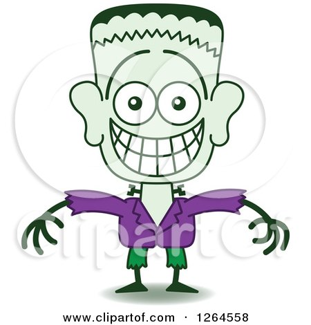 Clipart of a Halloween Frankenstein Grinning from Embarrassment - Royalty Free Vector Illustration by Zooco