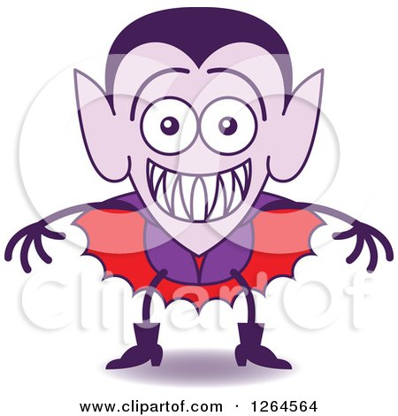 Clipart of a Halloween Dracula Vampire Grinning from Embarrassment - Royalty Free Vector Illustration by Zooco