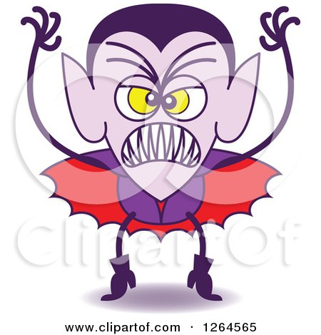 Clipart of a Halloween Dracula Vampire Being Scary - Royalty Free Vector Illustration by Zooco