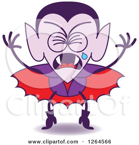 Clipart of a Halloween Dracula Vampire Crying - Royalty Free Vector Illustration by Zooco