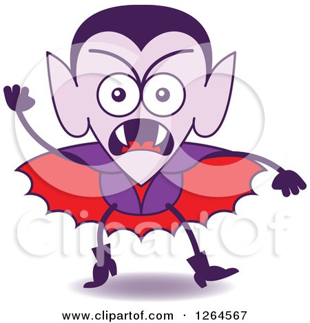 Clipart of a Halloween Dracula Vampire Furiously Waving a Fist - Royalty Free Vector Illustration by Zooco