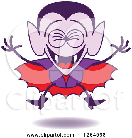 Clipart of a Halloween Dracula Vampire Laughing - Royalty Free Vector Illustration by Zooco