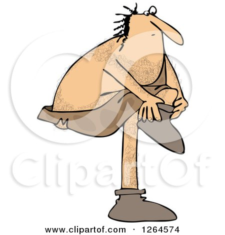 Clipart of a Hairy Caveman Putting Shoes on - Royalty Free Vector Illustration by djart