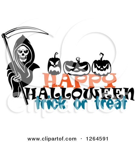 Clipart of a Grim Reaper and Pumpkins over Happy Halloween Trick or Treat Text - Royalty Free Vector Illustration by Vector Tradition SM