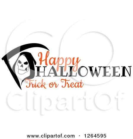 Clipart of a Grim Reaper with Happy Halloween Trick or Treat Text - Royalty Free Vector Illustration by Vector Tradition SM