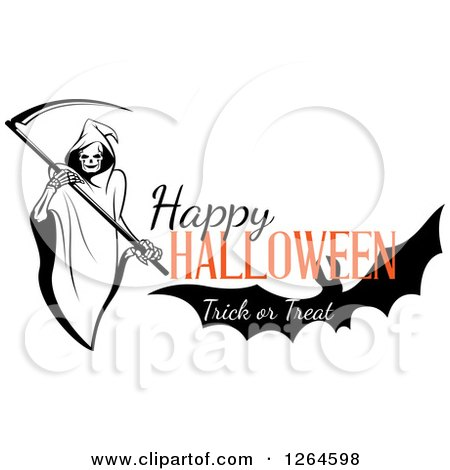 Clipart of a Grim Reaper and Bat with Happy Halloween Trick or Treat Text - Royalty Free Vector Illustration by Vector Tradition SM