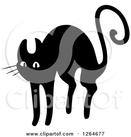 Clipart of a Black and White Scared Cat - Royalty Free Vector Illustration by Vector Tradition SM