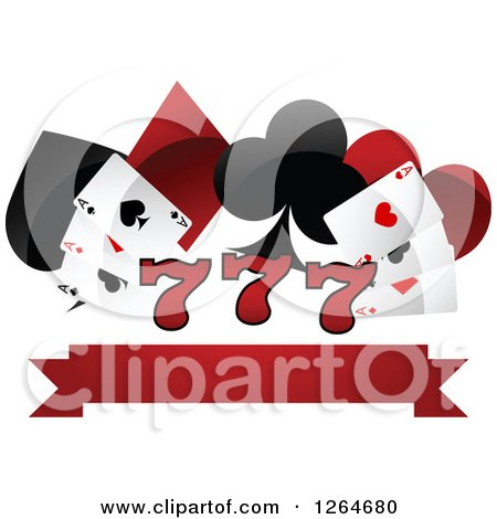 Clipart of Triple Lucky Sevens with Playing Cards and Shapes over a Blank Banner - Royalty Free Vector Illustration by Vector Tradition SM
