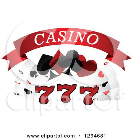 Clipart of Triple Lucky Sevens with Playing Cards and Shapes Under Casino Text - Royalty Free Vector Illustration by Vector Tradition SM
