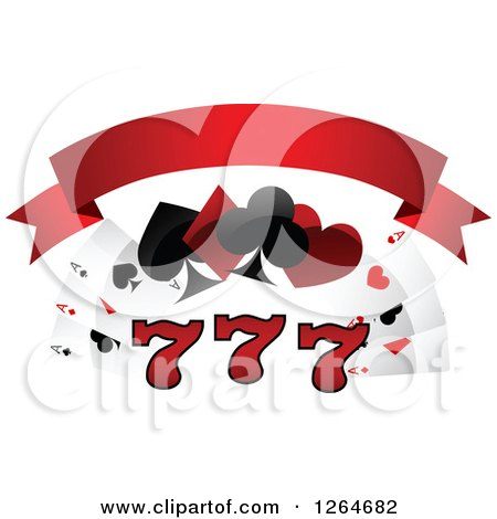 Clipart of Triple Lucky Sevens with Playing Cards and Shapes Under a Blank Red Banner - Royalty Free Vector Illustration by Vector Tradition SM