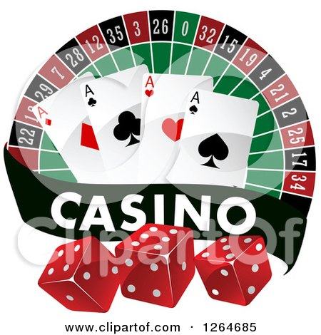 Clipart of Black and White Casino Dice over a Blank Red Banner ...