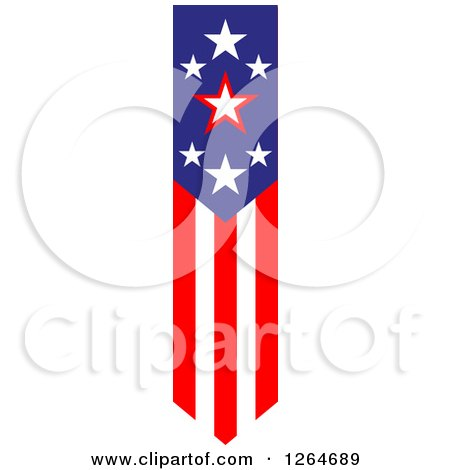Clipart of a Vertical Patriotic American Stars and Stripes Banner - Royalty Free Vector Illustration by Vector Tradition SM