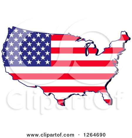 Clipart of a Patriotic American Stars and Stripes Map - Royalty Free Vector Illustration by Vector Tradition SM