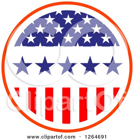 Clipart of a Patriotic American Stars and Stripes Circle - Royalty Free Vector Illustration by Vector Tradition SM