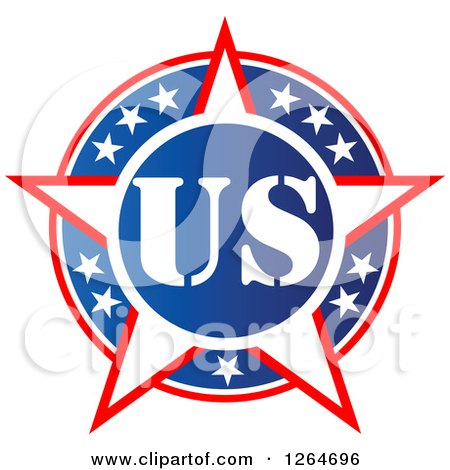 Clipart of a Patriotic American Stars US Badge - Royalty Free Vector Illustration by Vector Tradition SM