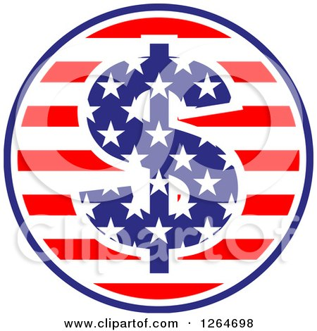 Clipart of a Patriotic American Stars and Stripes Circle with a Dollar Symbol - Royalty Free Vector Illustration by Vector Tradition SM