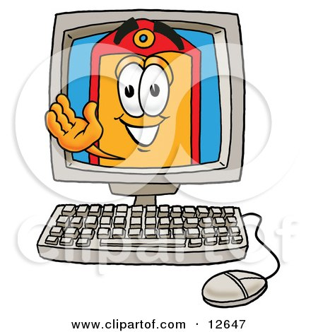 Clipart Picture of a Price Tag Mascot Cartoon Character Waving From Inside a Computer Screen by Toons4Biz