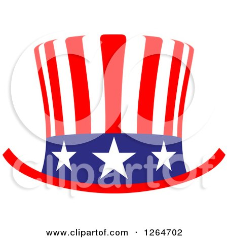 Clipart Of A Patriotic American Stars And Stripes Top Hat Royalty Free Vector Illustration