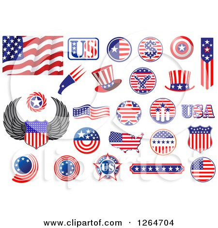 Clipart of Patriotic American Stars and Stripes Designs - Royalty Free Vector Illustration by Vector Tradition SM