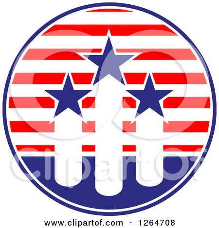 Clipart of a Patriotic American Stars and Stripes Circle with Fireworks - Royalty Free Vector Illustration by Vector Tradition SM
