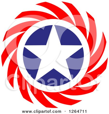 Clipart of a Patriotic American Stars Circle with Spirals - Royalty Free Vector Illustration by Vector Tradition SM