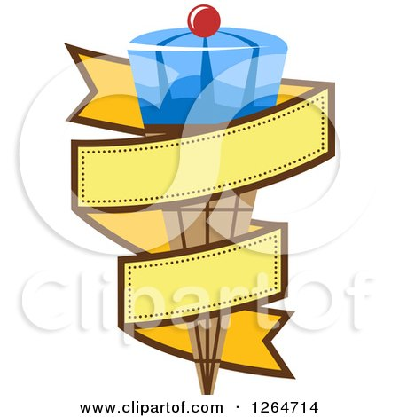 Clipart of a Blue Waffle Ice Cream Cone in a Yellow Ribbon Banner - Royalty Free Vector Illustration by Vector Tradition SM
