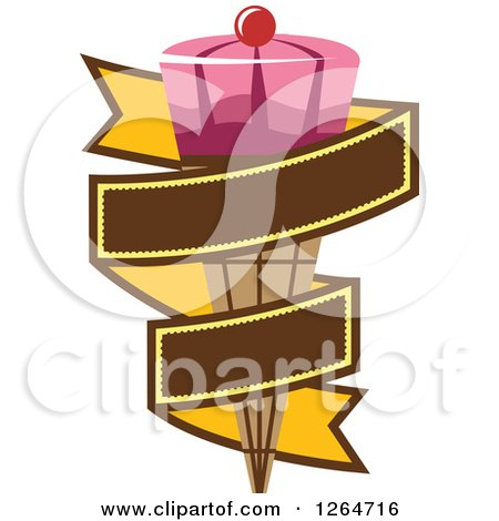 Clipart of a Pink Waffle Ice Cream Cone in a Yellow Ribbon Banner - Royalty Free Vector Illustration by Vector Tradition SM
