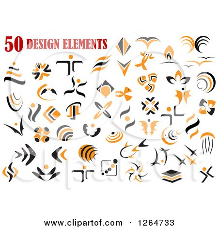 Clipart of Orange and Black Designs - Royalty Free Vector Illustration by Vector Tradition SM