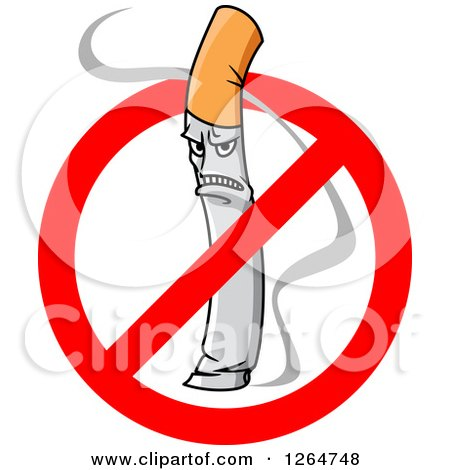 Clipart of a Mad Smoking Cigarette in a Restricted Symbol - Royalty Free Vector Illustration by Vector Tradition SM