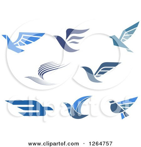 Clipart of Flying Blue Birds - Royalty Free Vector Illustration by Vector Tradition SM