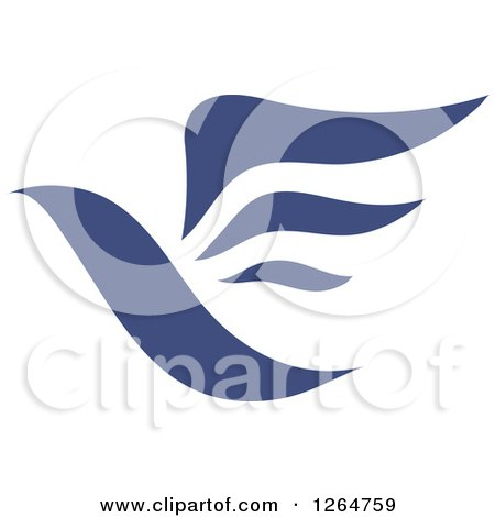 Clipart of a Flying Blue Bird - Royalty Free Vector Illustration by Vector Tradition SM