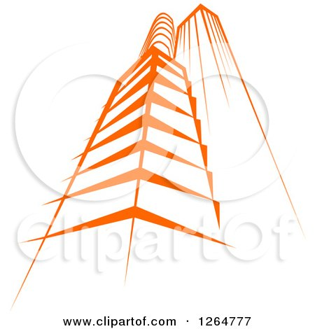 Clipart of a Tall Orange City Skyscraper Building - Royalty Free Vector Illustration by Vector Tradition SM