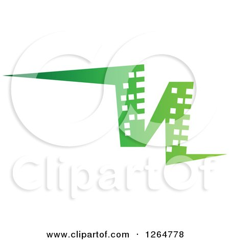 Clipart of a Green Abstract City Skyscraper Building - Royalty Free Vector Illustration by Vector Tradition SM
