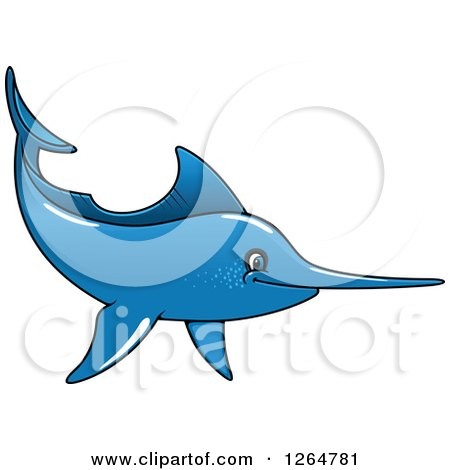 Clipart of a Cartoon Blue Swordfish - Royalty Free Vector Illustration by Vector Tradition SM
