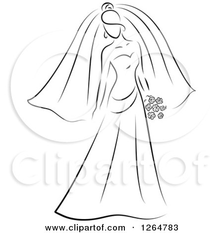 Clipart of a Black and White Sketched Bride - Royalty Free Vector Illustration by Vector Tradition SM