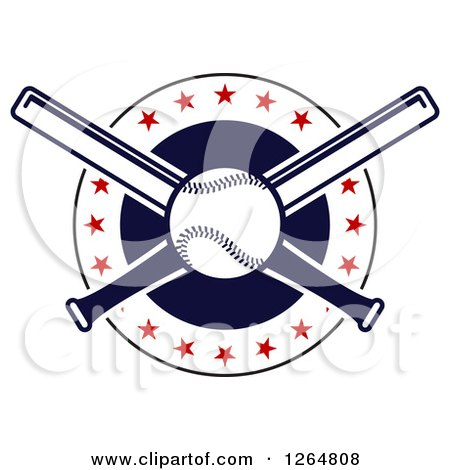 Clipart of a Baseball and Crossed Bats in a Circle with Stars - Royalty Free Vector Illustration by Vector Tradition SM