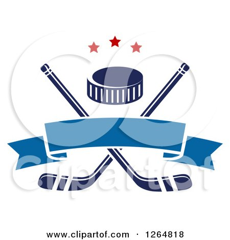 Clipart of a Hockey Puck over Crossed Sticks with a Blue Ribbon Banner and Stars - Royalty Free Vector Illustration by Vector Tradition SM