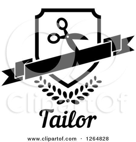 Clipart of a Black and White Shield with Scissors and a Banner over Leaves and Tailor Text - Royalty Free Vector Illustration by Vector Tradition SM