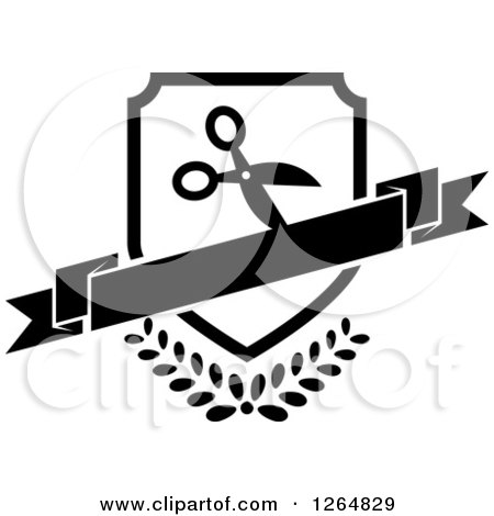Clipart of a Black and White Shield with Scissors and a Banner over Leaves - Royalty Free Vector Illustration by Vector Tradition SM