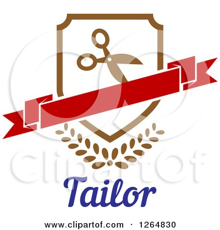 Clipart of a Shield with Scissors and a Banner over Leaves and Tailor Text - Royalty Free Vector Illustration by Vector Tradition SM
