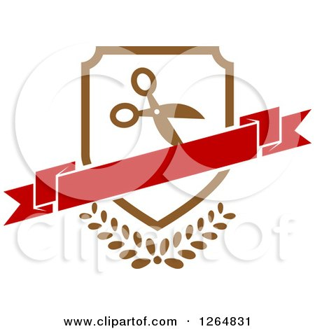Clipart of a Shield with Scissors and a Banner over Leaves - Royalty Free Vector Illustration by Vector Tradition SM