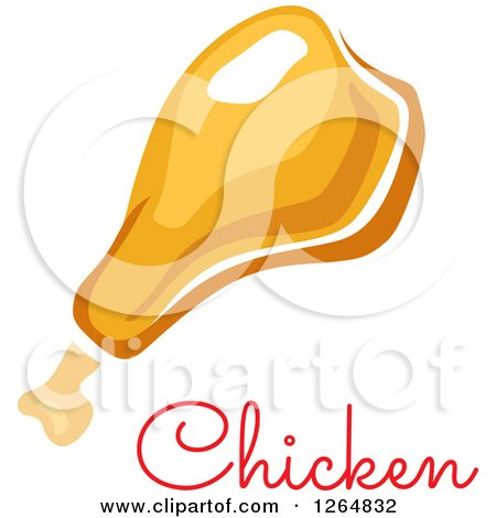 Clipart of a Chicken Drumstick with Text - Royalty Free Vector Illustration by Vector Tradition SM