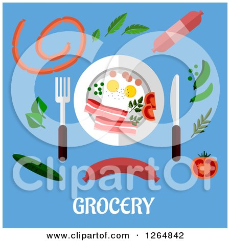 Clipart of a Plate and Food over Grocery Text on Blue - Royalty Free Vector Illustration by Vector Tradition SM