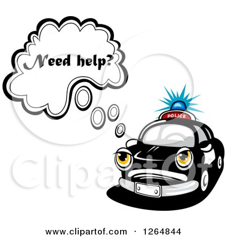 Clipart of a Police Car Asking if You Need Help - Royalty Free Vector Illustration by Vector Tradition SM