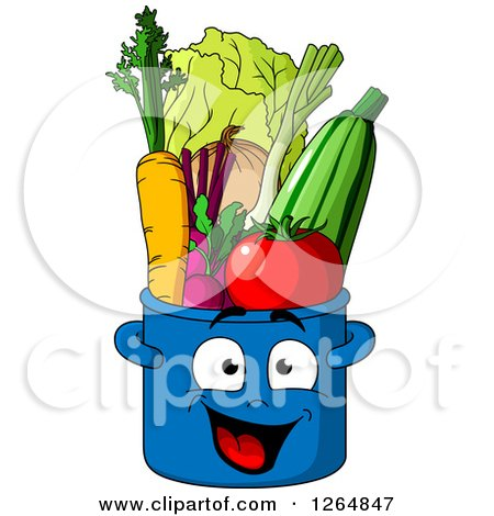 Clipart of a Happy Pot Character Full of Produce - Royalty Free Vector Illustration by Vector Tradition SM