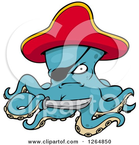 Clipart of a Tough Pirate Octopus - Royalty Free Vector Illustration by Vector Tradition SM