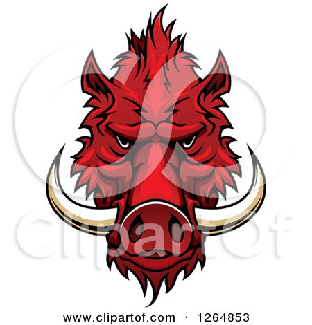 Clipart of a Red Vicious Boar Mascot Head - Royalty Free Vector Illustration by Vector Tradition SM