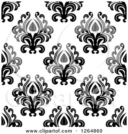 Clipart of a Seamless Background Pattern of Black Floral Damask on White - Royalty Free Vector Illustration by Vector Tradition SM
