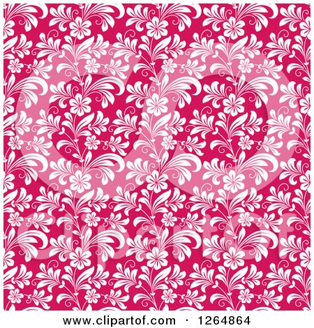 Clipart of a Seamless Background Pattern of White Floral Vines on Pink - Royalty Free Vector Illustration by Vector Tradition SM